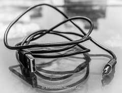 Day 198. (lizzieisdizzy) Tags: blackandwhite blackwhite black whiteandblack white whiteblack monochrome mono monotone monochromatic chromatic chroma usb cable wire connector