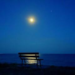Moon dreaming... (Jojo__) Tags: light blue romance greece summer sea nightwalk moonlight mandim