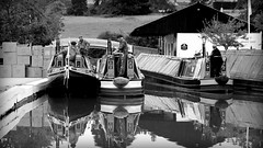On the reflection (Duck 1966) Tags: canal narrowboat braunston marina water crew