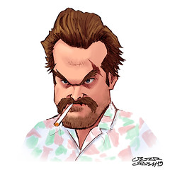 Chief Jim Hopper (Cesar Crash) Tags: strangerthings stranger things jimhopper davidharbour painting drawing pintura photoshop smoking fumando cigarro cigarrette netflix