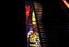 Piano Reflections (DDM Imaging) Tags: piano light reflections stainglass color colors colour colours camera sony hx50v photograph photography photo shadows mood music lights lighting
