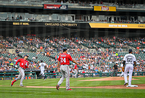 Anthony Redon running to first - Washington Nationals vs Detroit Tigers at Comerica Park Detroit MI