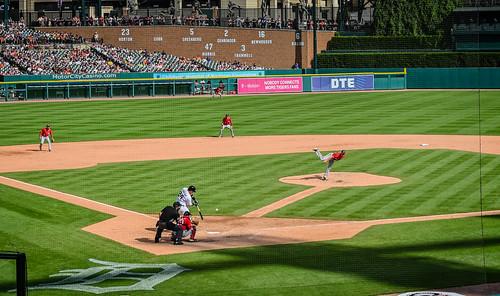 Miguel Cabrera at bat - Nationals vs Detroit Tigers at Comerica Park Detroit MI