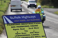 Suffolk Highways sign warning of road closure at Bramford (Ian Press Photography) Tags: heavy load outsize out size transformer haulage electric electricity escort police 999 emergency service services suffolk ipswich dock docks bramford allelys bike biker motorbike motorbiker motor cycle highways sign warning road closure