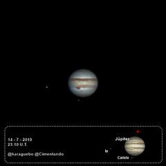 Júpiter - Ío - Calisto - 2019-07-14 - 23:10 U.T. (karaguebo) Tags: astrophotography celestron astronomía astrofotografía zwo bresser astronomy astro astrophoto asi178mm jupiter c6 baader
