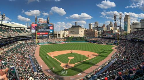 Panoramic view of Detroit Tigers at Comerica Park Detroit MI