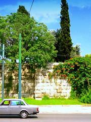 Athens Streets. Vasilisis Armallas Ave (dimaruss34) Tags: newyork brooklyn dmitriyfomenko image sky clouds greece athens trees street car wall stonewall