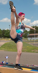 Practice (scattered1) Tags: july4th mi stretch marquette practice upperpeninsula parade michigan gymnastics pinkhair summer youngwoman northernmichigan flexible northern beam leg balance 2019 gymnast independenceday