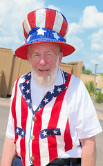 Uncle Sam (scattered1) Tags: july4th stripes flag exchangeclubofmarquette unclesam stars upperpeninsula parade costume michigan patriotic summer northernmichigan northern independenceday mi marquette 2019 hat beard