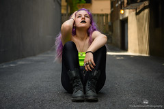The Dark Princess-10 (TheEvilDonut Photography) Tags: woman young beautiful gorgeous stunning goth purple longhair lipstick leggings boots alley urban streetphotography