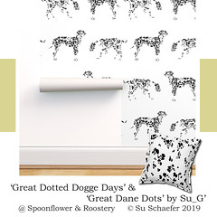 Design Challenge entry: 'Great Dotted Dogge Days' + 'Great Dane Dots' both by Su_G: wallpaper + cushion mockup (Su_G) Tags: sug deutschedogge greatdane dog animal animalprint hide doghide blackandwhite 2019 spoonflower spoonflowercontest spoonflowerdesignchallenge roostery greatdotteddoggedaysbysug greatdanedotsbysug mockup wallpaper isobarwallpaper cushion cushions pillows pillow pillowsham