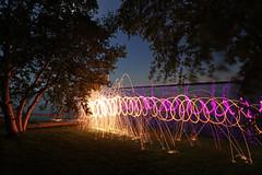 fire and light (scienceduck) Tags: scienceduck 2019 wideangle night fire sparks steelwool scugog lakescugog scugoglake water lake portperry littlebritain tree lightpainting purple