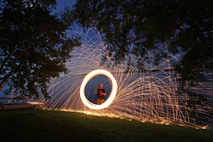 sparks by the lake (scienceduck) Tags: scienceduck 2019 wideangle night fire sparks steelwool scugog lakescugog scugoglake water lake portperry littlebritain tree me moi