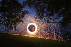 (scienceduck) Tags: scienceduck 2019 wideangle night fire sparks steelwool scugog lakescugog scugoglake water lake portperry littlebritain tree val