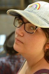 Escalator portrait (radargeek) Tags: mall pennsquaremall okc oklahomacity portrait 2019 june rainbow hat glasses family