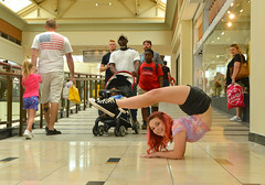 Turning heads (radargeek) Tags: mall pennsquaremall okc oklahomacity july christina twistina contortionist contortion bendythings 2019 american flag stroller folding converse chucks