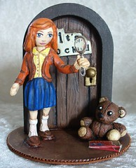 Nancy Drew diorama (redmermaidwerewolf) Tags: diorama fairy door clay sculpt sculpted doll hand made handmade painted nancy drew its locked pc games craft crafts miniature mr wooglewoggles