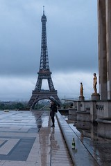 Girl with Umbrella at the Trocadero (Alan Amati) Tags: amati alanamati eu europe france paris trocadero center girl earlymorning early earlylight rain wet reflection umbrella city street urban life french eiffel tour tower eiffeltower toureiffel
