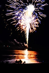 fireworks at the beach (nick see) Tags: fireworks beach reflection silhouette