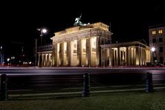 Brandenburg Trails (Douguerreotype) Tags: berlin city dark deutschland buildings night light urban architecture gate germany