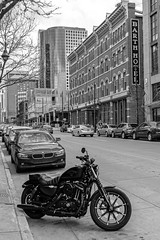 Downtown Denver (BeerAndLoathing) Tags: harleydavidson spring denver rp street blackwhite canon downtowndenver harley canonrf24105mmf4lisusm usa motorcycle barthhotel colorado canoneosrp bmw bw 2019 may downtown blackandwhite