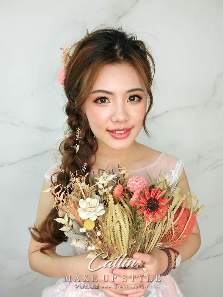 【新秘Catlin】新娘造型創作 / 甜美乾燥花造型