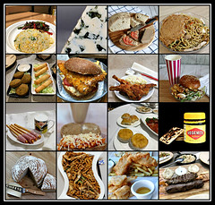 2019 Sydney: Savoury Food/ Meals collage #6 (dominotic) Tags: 2019 food savouryfood meals bread bakedbeans cheese vegemite saobiscuits noodles ham breadsticks fishburger friedrice cutlets chickenpie sataysauce fishandchips bluecheese pate foodphotography yᑌᗰᗰy foodcollage sydney australia