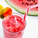 Drink of watermelon smoothie with ice cubes