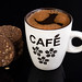 Cup of Black Coffee with Choco Biscuit with Peanuts