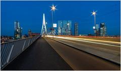 Blue hour at Kop van Zuid Rotterdam (Rob Schop) Tags: erasmusbrug bluehour lighttrails leadinglines rotterdam wideangle nofilters longexposure samyang12mmf20 f8 sonya6000