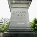Plinth of the destroyed Arago statue, Boulevard Arago at Place de l'Ile de Seine, Paris 14th arr