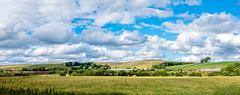 Hellifield Panorama (Peter Leigh50) Tags: hellifield station panorama railway railroad rail rural train trees track sky clouds sunshine fujifilm fuji field sheep shed class 66 cement hill hedge building countryside xt10