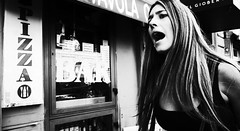 Calm down!! (Baz 120) Tags: candid candidstreet candidportrait city contrast street streetphotography streetphoto streetcandid streetportrait strangers rome roma ricohgrii europe women monochrome monotone mono noiretblanc bw blackandwhite urban life portrait people provoke italy italia girl grittystreetphotography faces decisivemoment