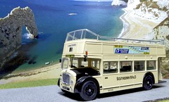 An Open Top Classic. (ManOfYorkshire) Tags: southdown brighton hove district bus company opentop opentopper bristol lodekka 2403 scale model 176 oogauge diecast corgi ooc route17 seafrontservice southdownbhd cliffs diorama rottingdean