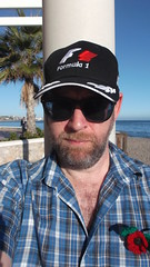 DSCF1504 (rugby#9) Tags: andalucia spain costadelsol fuengirola check shirt checkshirt hat outdoor cap f1 f1hat pergola beach sky bluesky tree palmtree