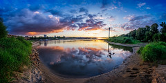 All the colors of this world (Fishcrosser) Tags: green sunset city cityscape blue sky river water reflection evening warsaw poland dramatic purple