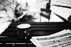 The old cup and today's paper (Fredrik Forsberg) Tags: sweden värmland olympusomdem5ii panasoniclumixg20mmf17ii summerhouse sommar nwt cup dots