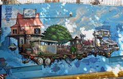 Parking Cours Julien, entrée nord (RarOiseau) Tags: streetart mur marseille bouchesdurhône bleu