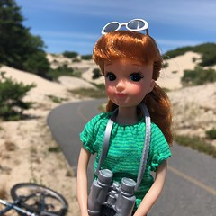 Biking though the sand dunes (Foxy Belle) Tags: outside beach sand sky nature provincelands national seashore cape cod dunes paved bike trail path nina ballerina yukkochan doll handmade sew clothing recycled shirt binoculars sunglasses barbie