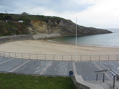 Sablon  Beach, Llanes (d.kevan) Tags: rocks rockformations sea cove water llanes asturias playadesablon spain headland steps promenade sand beach railings paving handrails walls structutres hills plants grass paths