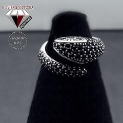 Bague serpent zircon noir en argent 925 (olivier_victoria) Tags: argent 925 zircon mystique noir bague ajustable unique taille serpent