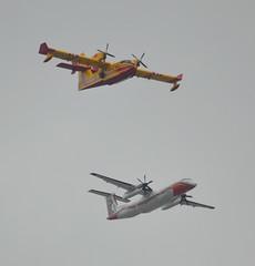 F-ZBMF, Canadair CL-415, c/n 2045, Pelican 45, + F-ZBMC, De Havilland Canada Dash 8-Q400MR, c/n 4040, Pelican 73, Milan special tail livery, Paris-La Défense, 2019-07-14. (alaindurandpatrick) Tags: bastilleday airparades flypasts sécuritécivile aerialfirefightingunits fzbmf pélican45 canadair canadaircl415 cn2045 tanker45 amphibians waterbombers fzbmc cn4040 dhc8q400 dehavillandcanada dash8 dash8q400 dhc dehavillandcanadadash8q400 pélican73 tanker73 firefightingaircrafts ladéfense parisladéfense offairports offairportaviationphotography aviationphotography