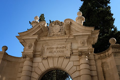 """""""Lively manner belying years"""" (John Wilder Photography) Tags: artefact architecture baroque mannerism stone stonework sculpture bishop garden entrance arch bluesky fuji xe3 xf1855mm palmademallorca"""