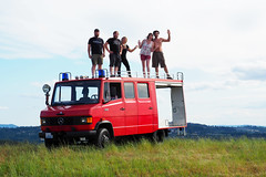 Having Fun ... and enjoying the view (Eclectic Jack) Tags: mercedes 7110 retired fire truck red germany imported unusual cute washington camas