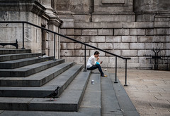Lunch for one (Stephen Champness) Tags: candid canon eos 50mm 18 stm 5d clasic london city stpauls steps stairs street angle