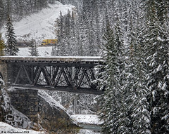 Snow Falling on an Abandoned Bridge with a view of the Trans Canada Highway 1 at Kicking Horse Pass Canada (PhotosToArtByMike) Tags: mountain snow canada mountains britishcolumbia highway1 rockymountains snowing canadianrockies britishcolumbiacanada yohonationalpark abandonedbridge kickinghorserivervalley transcanadahighway1 transcanadianhighway yohonationalparkofcanada