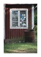 OW XXXIII ([ Time - Beacon ]) Tags: window rural sweden tb house wall wooden falu falured faluröd decay barrel stickers rust building