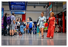 Will Anyone Notice Me In This Red Dress? (whosoever2) Tags: uk united kingdom gb great britain england nikon d7100 train railway railroad july 2019 limestreet liverpool station girl red dress stiletto heel shoes traveller passenger