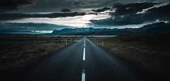 Into the Unknown (Camille Marotte) Tags: 2013 islande iceland street perspective onepoint landscape sky clouds unknown travel canon camillemarotte road cold empty alone lonely adventure frozen mountains mountain path skaftafell distance nature outdoor