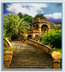 Garden Stairs (A Work of Mark) Tags: taormina sicily color topazimpressions photoshop layers stairs garden